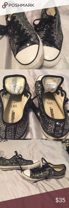 Converse all-star sequined tennis shoe sz 8 women Super spunky! Super sparkly! They are in excellent used condition. The shoes look great with the dress, by the way! Converse Shoes
