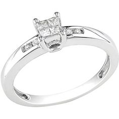 1/8 Carat T.W. Princess and Round Diamond Engagement Ring in Sterling Silver