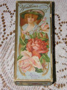 Antique J R Watkins Medical Co Perfume Soap Box Victorian Woman Roses Winona MN | eBay