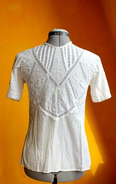 White Lace Shirt, Rare Vintage, Small, Cottage Chic, Elegant, Button Up, Original 30's, Delicate Cotton, Tight Blouse, Front Buttons, Cute by DurgaUniverse on Etsy
