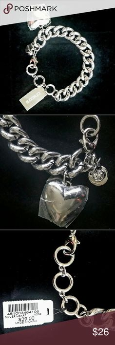 """CHICO'S Classic Silver Charm Bracelet NWT NWT Charm bracelet with large 1"""" heart charm, CHICO'S signature charm and rhinestone charm. Heart charm has protective plastic on it. This bracelet has significant weight. It would great with any outfit! Chico's Jewelry Bracelets"""