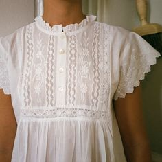 Salter House includes a Tea Room with vegan treats. Boho Outfits, Kids Outfits, Cotton Nighties, Heirloom Sewing, Linen Dresses, Fall Wardrobe, Dressmaking, Night Gown, Blouse Designs