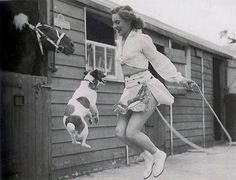 Woman And Dog Jumping Rope, 1940s