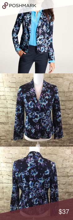"""Ann Taylor Moody Blue Floral Jacket Blue floral blazer fully lined • in good preowned condition • 98% cotton 2% spandex • approximate measurements bust 18.5"""", length 22.5"""", sleeve length 16.5""""• Ann Taylor Jackets & Coats Blazers"""