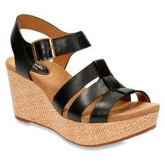 This Black Caslynn Harp Leather Wedge Sandal is perfect! Clarks Women's ...