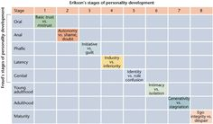 This chart shows a relational comparison of Erik Erikson's 8 Stages of Psychosocial Development and Freud's Stages of Personal Development. From Regis University