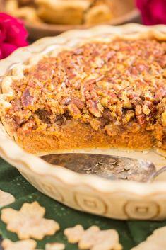 Pecan Pumpkin Pie • The Gold Lining Girl No Bake Pumpkin Cheesecake, Pumpkin Pecan Pie, Pumpkin Pie Recipes, Baked Pumpkin, Pumpkin Dessert, Bourbon Pecan Pie, Just Pies, Thanksgiving Desserts, Sweet Tarts