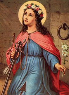 Saint Filomena--thrown in ocean with anchor tied to neck to drown her for not denouncing Jesus and was saved by the Lord Jesus..Saint and Martyer