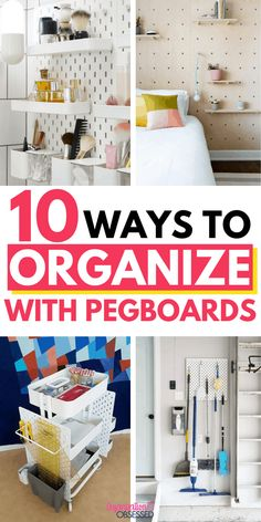 In this post we have some great pegboard organization ideas to get your rooms organized! Pegboard Organization, Home Organization Hacks, Organizing Your Home, Makeup Organization, Organizing Ideas, Small Craft Rooms, Cleaning Supplies, Craft Supplies, Cleaning Hacks