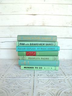 Green, Aqua  Books Instant Library Collection Decorative Books Photography Props Shades of Sea Glass Coastal.