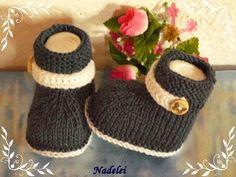 Strick- & Häkelschuhe - Gestrickte Babyschühchen, Babysocken, - ein Designerstück von nadelei bei DaWanda