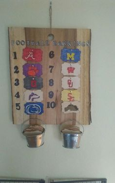 I made this for my step dad who is a HUGE college football fan. The metal tins hold blank boards that I will paint for new teams that make the top 10 each year. He loved this gift, and I have received a request from my uncle to make another.