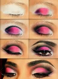 yeux noirs maquillage rose