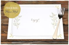 Freebie Download: Frame Place Mat | Smitten On Paper - perfect for Thanksgiving!