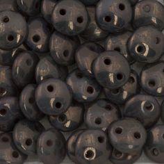 50 CzechMates 6mm Two Hole Lentil Ashen Grey Moon Dust Beads (43020MD)