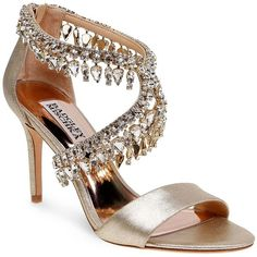 Badgley Mischka Grammy Ii Embellished Metallic Leather High Heel... (11.240 RUB) ❤ liked on Polyvore featuring shoes, sandals, platino, strap heel sandals, heeled sandals, metallic shoes, strappy leather sandals and badgley mischka sandals