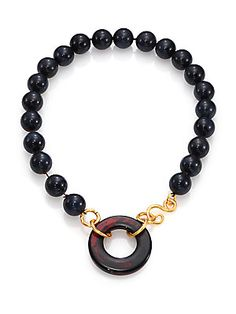 Stephanie Kantis Lush Brown Agate & Blue Tiger's Eye Beaded Necklace #Jewelry