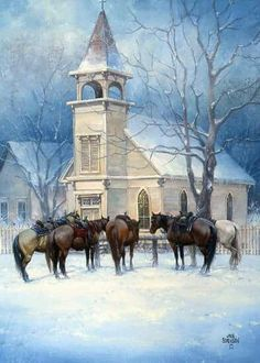Christmas – The Old West Art of Jack Sorenson Noël – L'art du vieil ouest de Jack Sorenson Old West, Church Pictures, Snow Pictures, Abandoned Churches, Old Churches, Abandoned Cities, Abandoned Mansions, Old Country Churches, Templer