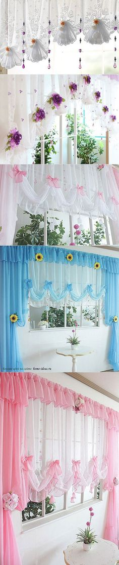 КРАСИВЫЕ ШТОРЫ НА КУХНЮ... Unique Curtains, Cute Curtains, Types Of Curtains, Modern Curtains, Drapes Curtains, Beautiful Curtains, Curtain Designs, Dream Decor, Window Coverings