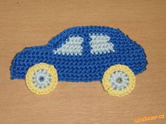 Car appliqué - free pattern ( use Google translator ) Appliques Au Crochet, Crochet Applique Patterns Free, Crochet Square Patterns, Baby Knitting Patterns, Crochet Motif, Knitting Yarn, Crochet Flowers, Crochet Stitches, Free Pattern
