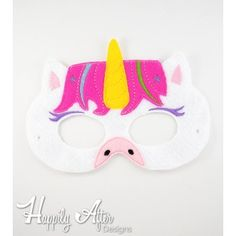 Unicorn Mask ITH Embroidery Design