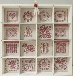 Casiers Casa ......terminés. - CREA'LOISIRS Embroidery Sampler, Baby Embroidery, Cross Stitch Embroidery, Cross Stitch Love, Cross Stitch Designs, Cross Stitch Patterns, Diy Shadow Box, Little Stitch, Le Point