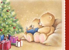Kerstkaart - beren-lezen-kerstverhaal-bij-de-kerstboom
