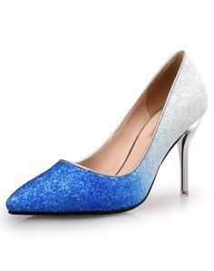 Blue Gradient Sequin Pointed Toe Wedding Stiletto Heel Pumps. Find more fashion inspiration at VIPme.com #VIPme #Shoes