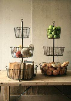 wire basket tower with raw metal finish | wire storage