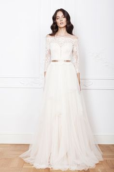 Ramia wedding dress from Divine Atelier wedding dresses 2016 - Lace sleeve wedding dress with satin belt  -  see the rest of the collection on www.onefabday.com