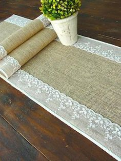 Burlap and lace table runner by sscott