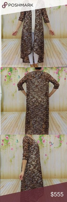 LONG SHEER FLORAL CHEETAH PRINT KIMONO 95% poly 5% spandex. Bust about 24 inches across. Length about 50 inches. Absolutely stunning floral design w a cheetah print. Great for a night out or a cover up. Turn heads! Accessories Scarves & Wraps