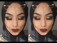 GOLD GLITTER WITH RED LIPS | PROM/EID makeup tutorial