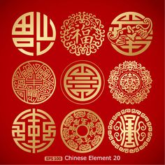 9 gold pattern vector material Chinese Element Good LuckYou can find Chinese culture and more on our gold pattern vector material Chinese Element Good Luck Pattern Floral, Gold Pattern, Chinese Design, Chinese Style, Chinese Logo, Chinese Typography, Hippie Symbole, Feng Shui Symbols, Cultural Patterns