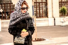 Woman Is Walking With Stylish Scarf royalty-free stock photo