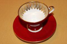 Aynsley English Tea Cup Set - Ruby Burgundy  Garnet Red Corset  Gold Gilding / Fine Filigree - Fine Bone China