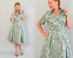 50er Jahre Seide Kleid Vintage 50er Jahre grüne von Day17Vintage