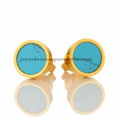 arete turquesa en oro dorado en acero inoxidable para damas SSEGG833031