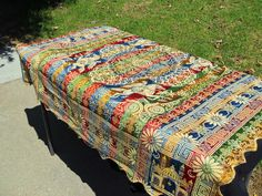 Would love to have a round one similar to this. Picnic Blanket, Outdoor Blanket, Velvet Bedspread, Linen Tablecloth, Embroidered Silk, Tapestry, Wall Art, Indian, French