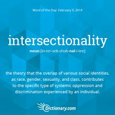 Dictionary.com's Word of the Day - intersectionality - the theory that the overlap of various social identities, as race, gender, sexuality, and class, contributes to the specific type ofsystemic oppression and discrimination experienced by an individual (often used attributively): Her paper uses a queer intersectionality approach.