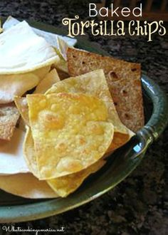 Plate of Baked Tortilla Chips (use Guerrero or Mission White corn tortillas for SF) Corn Tortilla Recipes, Homemade Tortilla Chips, Homemade Tortillas, White Corn Tortillas Recipe, Appetizer Recipes, Snack Recipes, Appetizers, Mexican Food Recipes, Whole Food Recipes