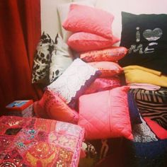 Pillows for days and still adding. I have a bag under those pillows I do not know if you guys can see them or not but it helps a lot I put some in there. Love pillows!