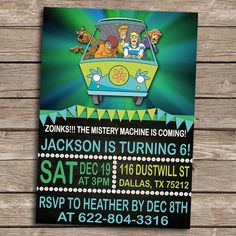 Scooby-Doo Birthday Invitation - Personalized Printable Scooby-Doo Invitation-Scooby-Doo Birthday Party Invitation- by PoppyPartyPrint on Etsy https://www.etsy.com/listing/262916585/scooby-doo-birthday-invitation