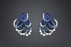 "Archi dior ""milieu du siècle saphir"" earrings - ""Milieu du Siècle Saphir"" earrings in 18K white gold (plated with black gold), diamonds and sapphires."