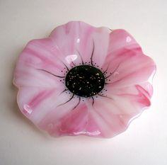 Fused Glass Poppy Dish (Pink). $38.00, via Etsy.