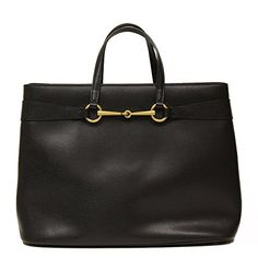 Gucci Horsebit Convertible Large Black Leather Top Handle Shoulder Tote Bag