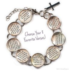 Encouragement Scriptures Glass Charm Scripture Bracelet by ScriptCharms. This beautiful silver plated metal and glass bracelet features eight encouraging Bible verses, each on its own glass charm. Girls Bible, Our Father In Heaven, Lord Is My Shepherd, Thing 1, Silver Bracelets, Charm Bracelets, Bible Verses, Scriptures, Bible Quotes
