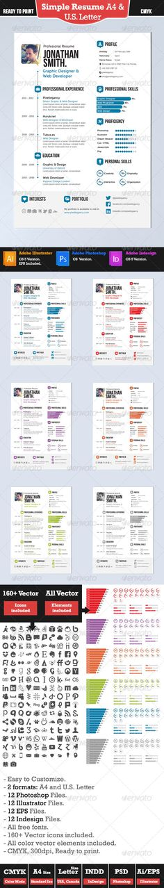 Simple Resume. A4 and US Letter - Resumes Stationery