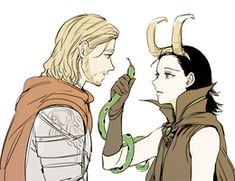 Prince Thor and Witch Loki by satang-susu