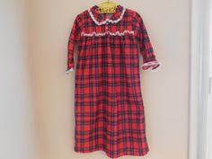 Size 23T Vintage Toddler Girl Long red plaid by LittleMarin,